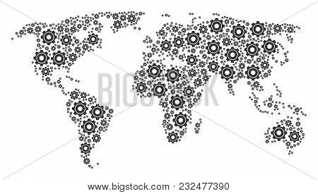 Global Atlas Pattern Organized Of Cog Icons. Vector Cog Icons Are Organized Into Geometric Continent
