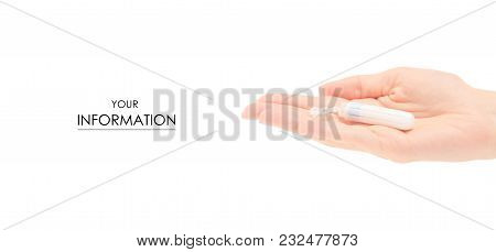 Female Hand Hygienic Tampon Pattern On White Background Isolation