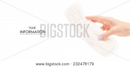 Sanitary Napkin Pad In Female Hand Pattern On White Background Isolation
