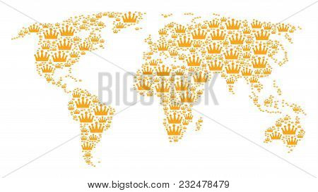 Continental Map Pattern Done Of Crown Pictograms. Vector Crown Pictograms Are Organized Into Geometr