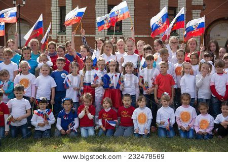 Yoshkar-ola, Russia - September 3, 2016 A General Picture Of Children With Russian Symbols And Flags