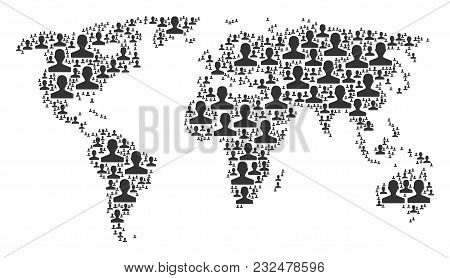 Global Geography Map Concept Composed Of Customer Icons. Vector Customer Design Elements Are Compose