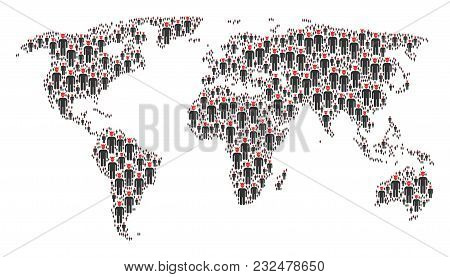 Worldwide Map Concept Designed Of Daemon Elements. Vector Daemon Icons Are Organized Into Geometric