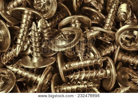background from old metal self-tapping screws