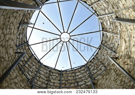 Moron, Spain - March 20, 2018: Upper Part Inside Oven Of The Traditional Craftsmanship Of Lime Makin