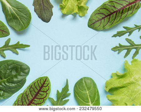 Frame Of Fresh Leaves Of Green Spinach And Arugula Salad Rocket, Arugula On A Blue Background
