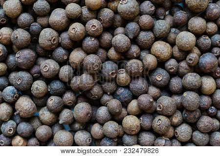 Close Up Fragrant Peppers Round Grains Background