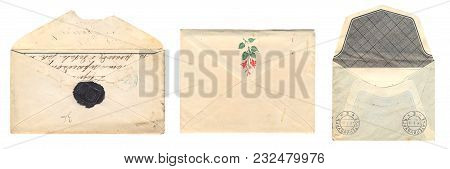 Russia - Circa 1897-1913: Set Of Vintage Yellowed Envelopes With Postmark Stamps And Wax Seal From T