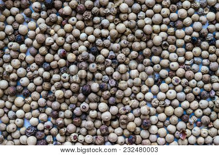 Close Up White Peppers Round Grains Background