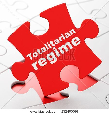 Politics Concept: Totalitarian Regime On Red Puzzle Pieces Background, 3d Rendering