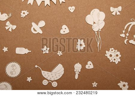 Postcard For A Newborn With A Picture Of Pens, Stars, Flowers And A Pacifier