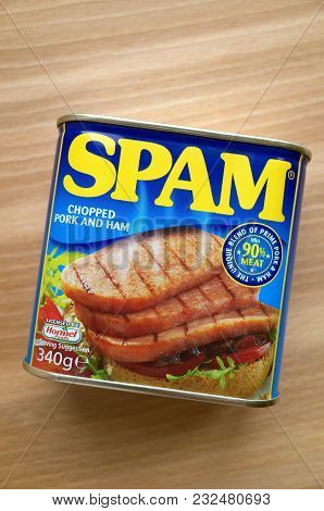 Bracknell, England - March 22, 2018: Unopened Can Of Spam, A Blend Of Chopped Pork And Ham Made Unde
