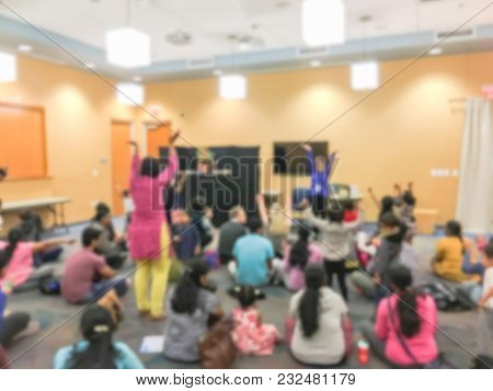 Blurred Motion Story Time At Public Library In Texas, Usa