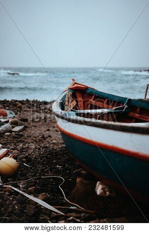 Fishing Boat On Shore During Stormy Atlantic Ocean. Sinagoga Location On Santo Antao Island. Cape Ve