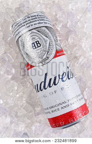 Irvine, California - March 21, 2018: A 25 Ounce King Can Of Budweiser Beer On Ice. Introduced In 187