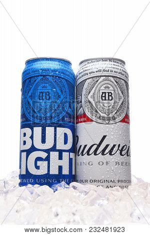 IRVINE, CALIFORNIA   MARCH 21, 2018: Budweiser And Bud Light King Cans In  Ice. Budweiser And Bud Light Are Two Of The Most Popular Beers In The U.S.