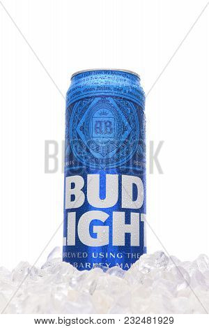 Irvine, California - March 21, 2018: A 25 Ounce Can Of Bud Light Beer In Ice. Introduced In 1982 As