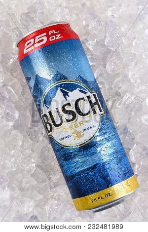 Irvine, California - March 21, 2018: A 25 Ounce King Can Of Busch Beer On Ice. An Economy Brand Pale