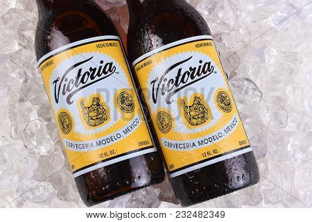 Irvine, California - March 21, 2018: Two Victoria Beer Bottles On Ice. Mexicos Oldest Beer Brand. Vi