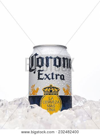Irvine, California - March 21, 2018: 12 Counce Can Of Corona Extra Cerveza In Ice. Corona Extra Is A