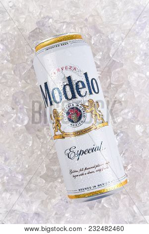Irvine, California - March 21, 2018: A Can Of Modelo Especial On Ice. First Bottled In 1925, Modelo