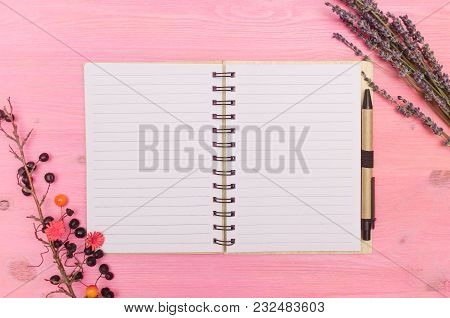 Note Pad With Blank Paper Page Sheet , Wild Berry And Dry Lavender Branches On Glamour Purple Backgr