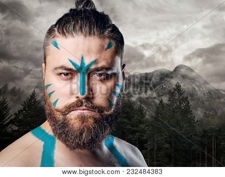Portrait Of Bearded Scandinavian Male Over Nature, Landscape Background.