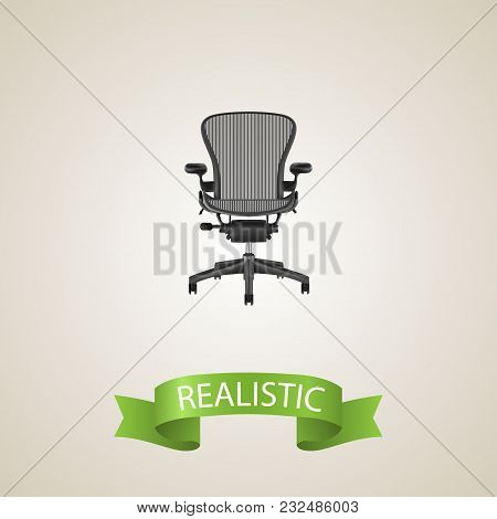 Office Chair Realistic Element.  Illustration Of Office Chair Realistic Isolated On Clean Background