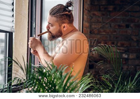 Fatty Bearded, Shirtless Male Smoking Cigar In Front Of The Window With The Wall Of The Brick On The