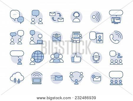 Communication And Interaction Icons. Vector Thin Line Pictograms Of Ways Of Communicating And Sharin
