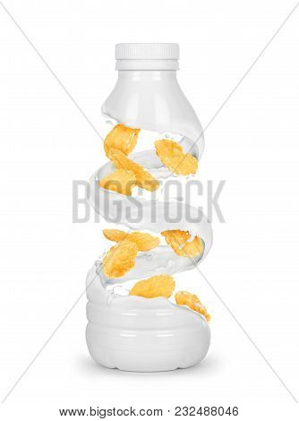 Oat Flakes Rotate In Milk Splashes In The Shape Of A Bottle, Conceptual Image Isolated On White Back