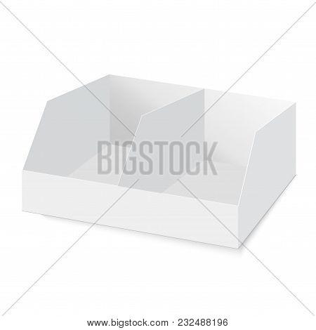 Pos Poi Cardboard Blank Empty Display Show Box Holder. Vector Mock Up