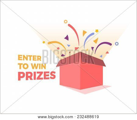 Prize Box Opening And Exploding With Fireworks And Confetti. Enter To Win Prizes Design. Vector Illu