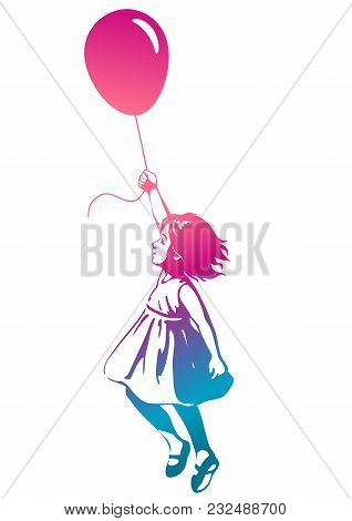 Vector Hand Drawn Multicolor Rainbow Silhouette Illustration Of A Cute Little Toddler Girl In A Summ