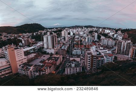 Wide-angle View From A High Above Of Dark Evening Cityscape Of A Small Brazilian Town Juiz De Fora I