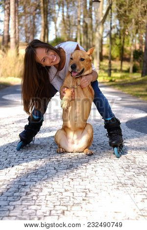 Attractive Brunette Female Posing With Her Dog On A Road In A Spring Nature Par.
