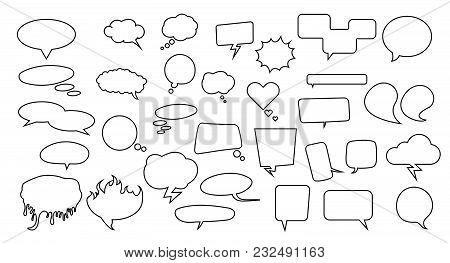 Speech Bubbles Set. Pack With Many Thinking And Speech Bubbles For Your Art, Infographics, Sale Badg