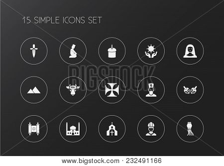 Set Of 15 Editable Faith Icons. Includes Symbols Such As Mosque, Nun, Sun In Hand. Can Be Used For W