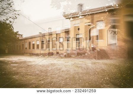 External Facade Of Old And Abandoned Devastated School In Double Exposition Composition, Ready For R