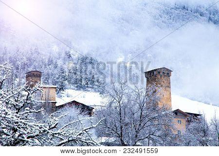 The Ancient Svan Medieval Towers. Svaneti, Mestia, Georgia, Greater Caucasus Range. Sunny Frosty Sno