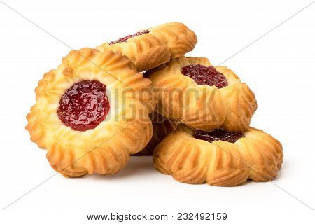 Bunch Of Cookies With Jam On A White Background, Isolated.