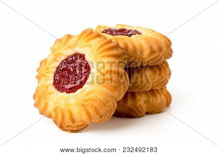 Cookies In The Form Of A Flower With Jam On A White Background, Close-up.