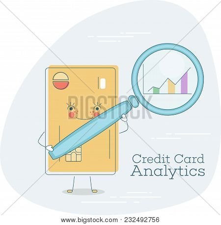 Credit Card Analytics Trendy Concept In Line Art Style. Banking And Finance, Ecommerce Service Sign,