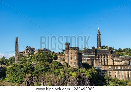 Calton Hill And Monuments In Edinburgh, Scotland
