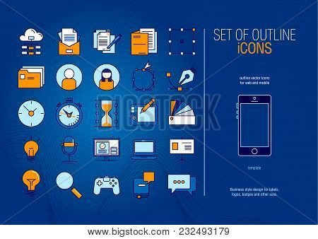 Set Of Modern Futuristic Outline Vector Icons For Web And Mobile