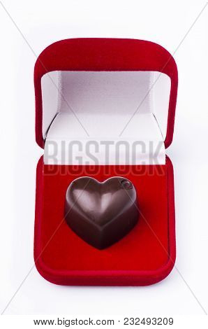 Heart-shaped Chocolate In A Red Velvet Box