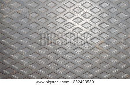 Cast Diamond Embossed Metal Plate For Use As A Background