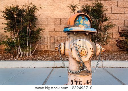 Close Up Shot Of Fire Hydrant On The Public Street Over Concrete Brick Wall And Plants Background.
