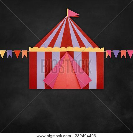 Circus Tent Origami Paper Isolated On A Blackboard Backgroundwith Chalk Text