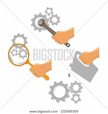 Car Service Vector Set. Repair Of Mechanics. Lubrication Mechanism. Mechanism Diagnostics